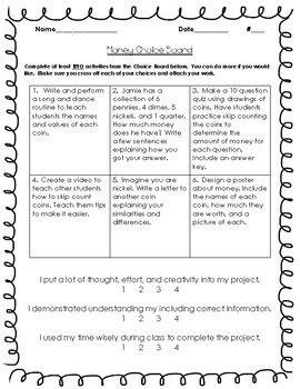 2nd Grade Common Core Math: Money Choice Board & Self-Assessment
