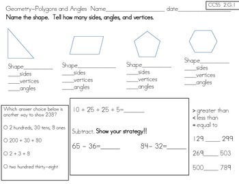2nd Grade Common Core Math Pack 4.4-Intro into Geometry