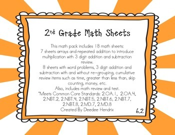 2nd Grade Common Core Math Pack 6.2