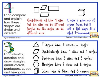 2nd Grade Math Posters (2.G.1-3) with Marzano Scales - Common Core - FREE