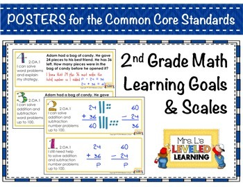 2nd Grade Math Posters (2.G.1-3) with Marzano Scales - Com