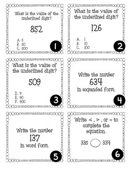 2nd Grade Common Core Math Review Scoot Task Cards