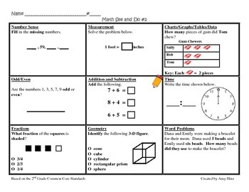 2nd Grade Common Core Math See & Do Daily Spiral Review / Morning Work