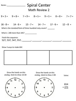 2nd Grade Common Core Math Spiral Review