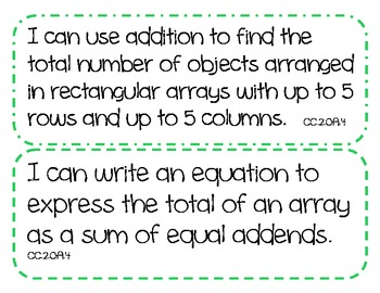 """2nd Grade Common Core Math Standards -  """"I Can"""" Statements (COLOR BORDER THEME)"""