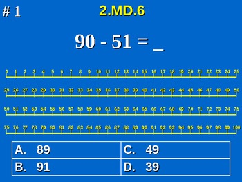 2nd Grade Common Core Math - Sums & Differences On A Number Line 2.MD.6