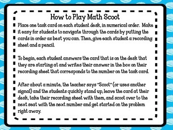2nd Grade Common Core Math Task Cards/ Scoot