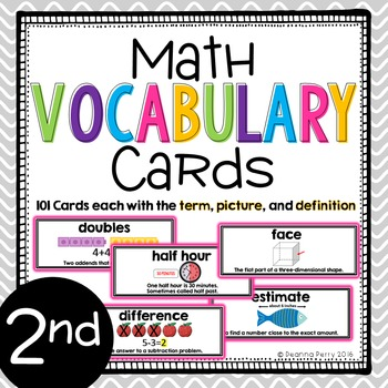 2nd Grade Common Core Math Vocabulary Cards with Definitions {101 CARDS}