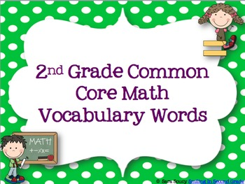 2nd Grade Common Core Math Vocabulary Words by The Colorful Apple