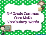 2nd Grade Common Core Math Vocabulary Words
