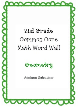 2nd Grade Common Core Math Word Wall Geometry
