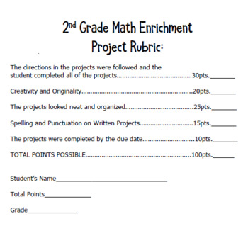 2nd Grade Measurement Math Enrichment Projects + Vocabulary Handout