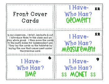2nd Grade Common Core Math Vocabulary I HAVE WHO HAS? Cards
