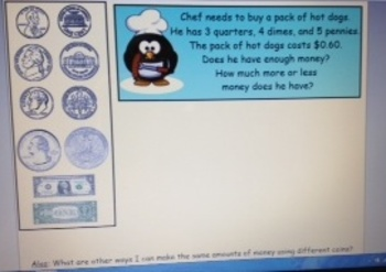 2nd Grade Common Core Money Identify and Word Problems SMARTBoard 2.MD.8