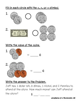 2nd grade common core money pre assessment by confessions of a teachanista. Black Bedroom Furniture Sets. Home Design Ideas