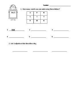 2nd Grade Common Core Morning Work
