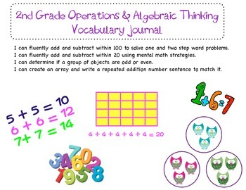 2nd Grade Common Core Operations & Algebraic Thinking Vocabulary Booklet