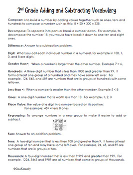 2nd Grade Place Value: Addition & Subtraction  + Vocabulary Handout