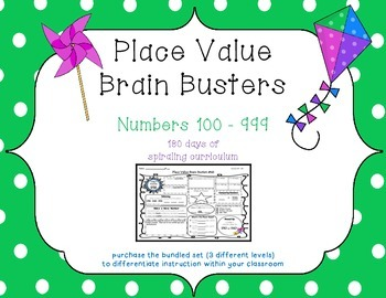 2nd Grade CCSS Place Value Brain Busters Daily Spiral Review / Morning Work