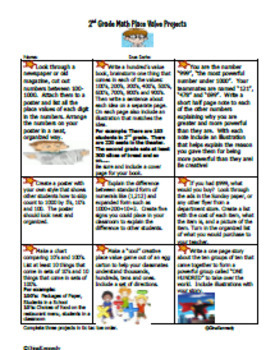 2nd Grade Place Value Projects + Vocabulary Handout