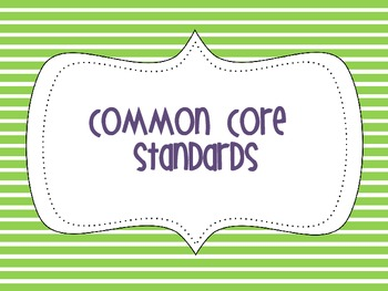 2nd Grade Common Core Poster- Stripes