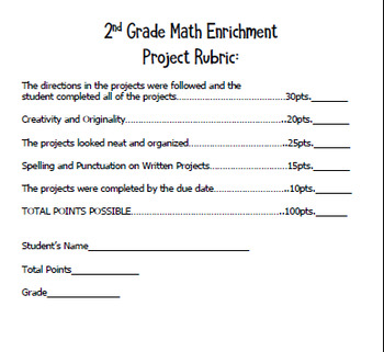 "2nd Grade ""Multiplication"" Math Enrichment Projects"