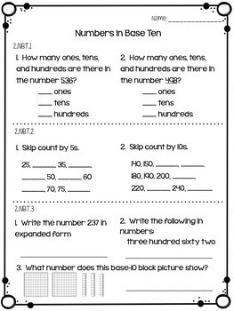 2nd Grade Common Core Quick Math Assessments