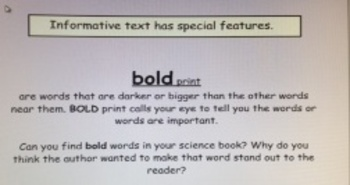 2nd Grade Common Core RI.2.5 Informative Text Features SMARTBoard