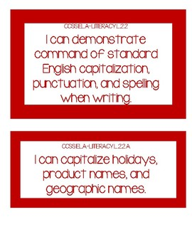 2nd Grade Common Core Reading I Can Statements