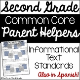 2nd Grade Common Core Reading Informational Text Parent Helper -also in Spanish