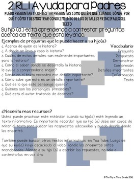 2nd Grade Common Core Reading Literature Parent Helper -also in Spanish