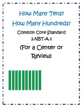 2nd Grade Common Core Review:How Many Tens and Hundreds? 2.NBT.1.A