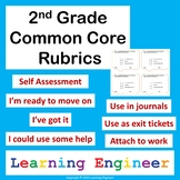 2nd Grade Rubrics, Common Core for ELA and Math, Self Assessment