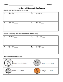 2nd Grade Common Core Spiral Math Homework-Editable