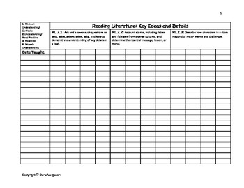 2nd Grade Common Core Standards Class Roster Data Collection Charts