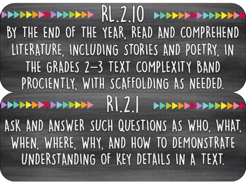 2nd Grade Common Core Standards   ELA/Reading Wall Cards