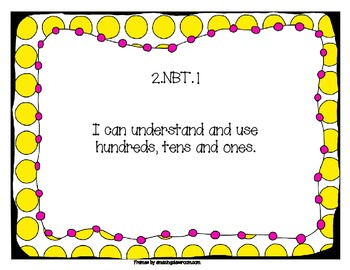2nd Grade Common Core Standards I Can Posters: Yellow & Pink Dots