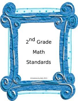 2nd Grade Common Core Standards List - Math {FREEEBIE}