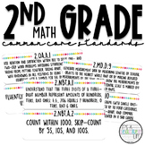 2nd Grade Common Core Standards | Math Wall Cards | White