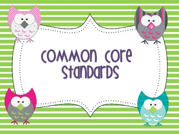 2nd Grade Common Core Standards Poster- Owl