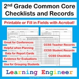 2nd Grade Checklists for Common Core ELA and Math Learning Targets