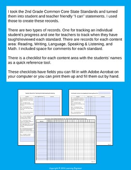 2nd Grade Checklists | Data Tracking | 2nd Grade Assessments | Quick Check