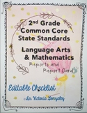 EDITABLE 2nd Grade Common Core Standards (ELA & Math)  Report Card with IXL