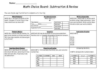 2nd Grade Common Core Subtraction and Unit 1 Review Choice Board
