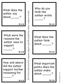Text-Dependent Question Stems - POST IT NOTE Templates & More - 2nd Grade