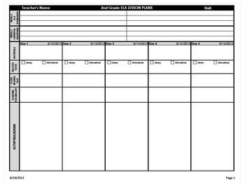 Nd Grade Common Core Weekly Lesson Plan Template ELA Math - Common core math lesson plan template