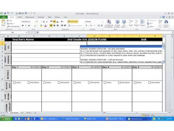 2nd Grade Common Core Weekly Lesson Plan Template -  ELA & Math (Landscape)