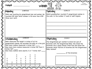 Word Problems Day 2nd Grade, December