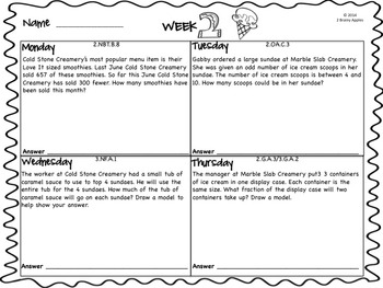 Word Problems 2nd Grade, June