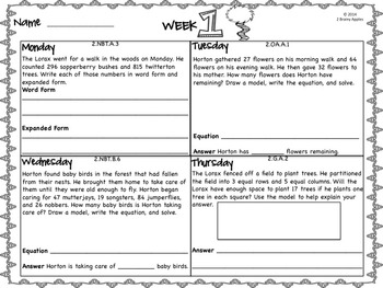 Word Problems 2nd Grade, March